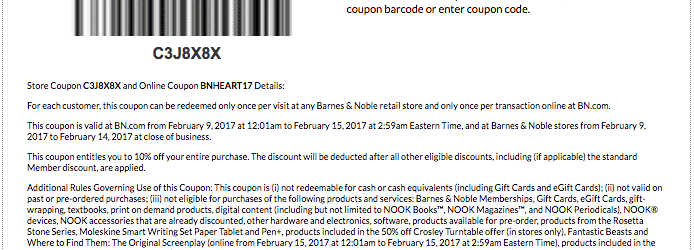 barnes and nobles printable coupon february 2017 valentines day 10 percent off