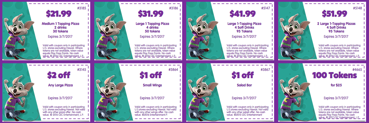 chuck e cheeses printable coupon tokens food february 2017 march 2017
