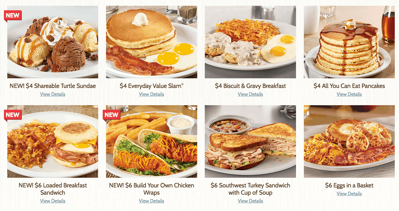 dennys new affordable menu with all you can eat pancakes for 4 dollars and more