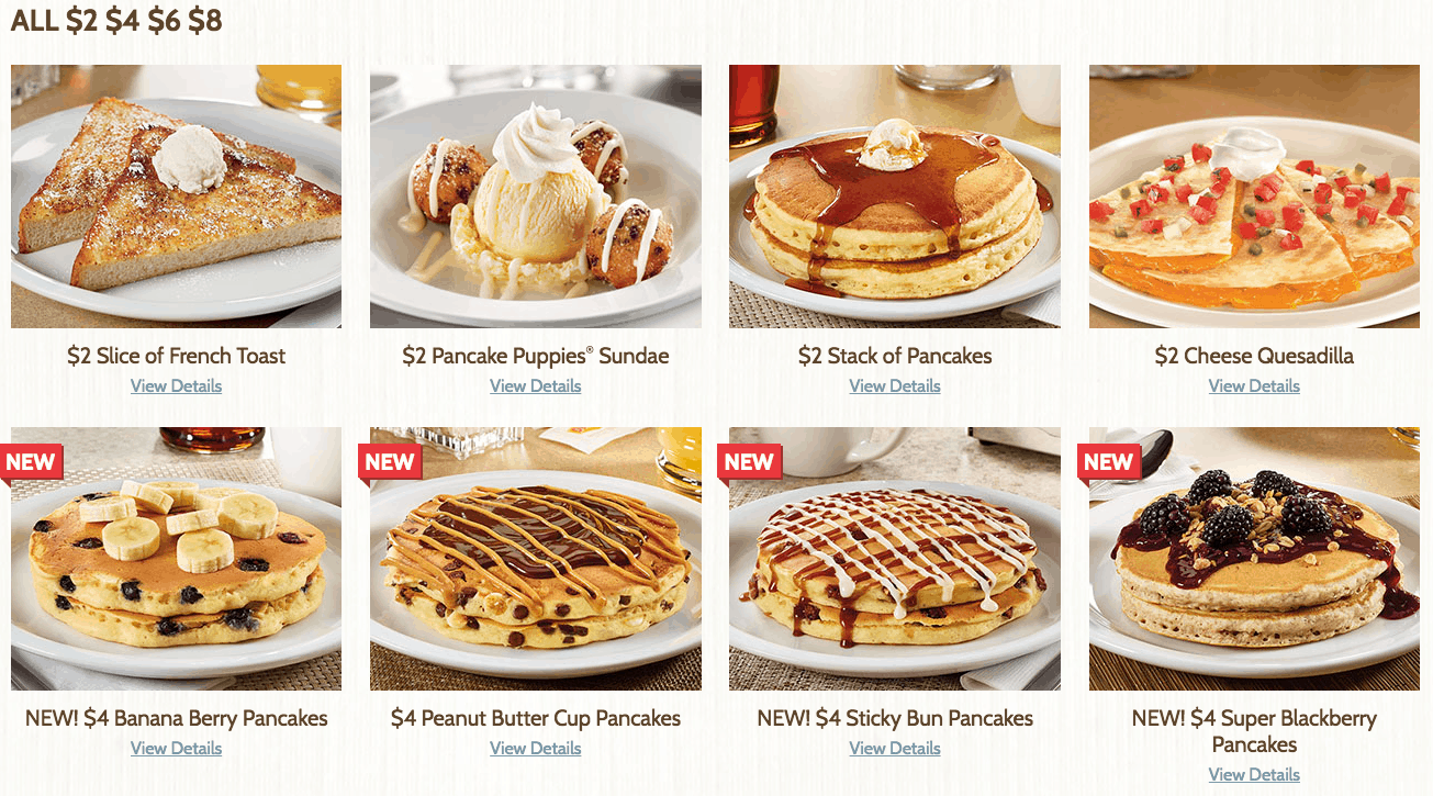 dennys new affordable menu with all you can eat pancakes for 4 dollars