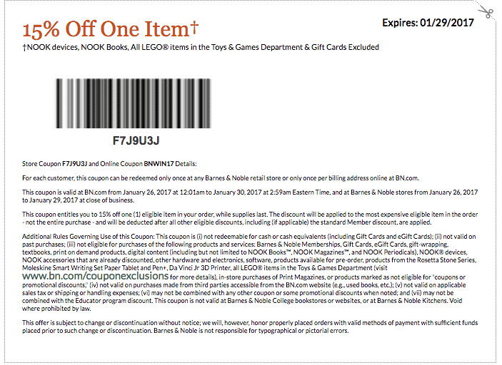 january 2017 barnes and noble printable coupon code 15 percent off