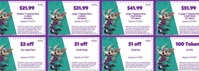 march 2017 april 2017 chuck e cheese printable coupons tokens food