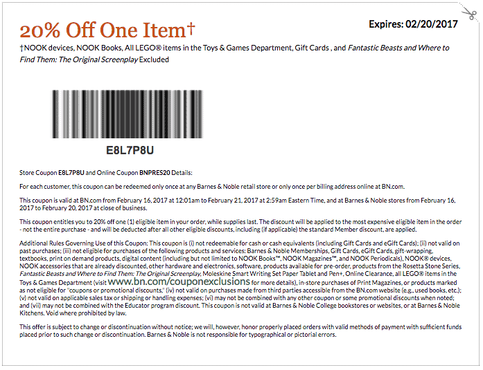 new february 2017 printable coupon code Barnes and Noble