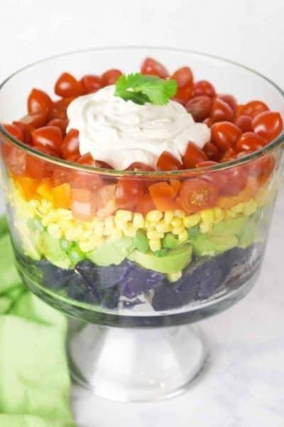 Rainbow-Potato-Salad- for trolls birthday party healthy food ideas