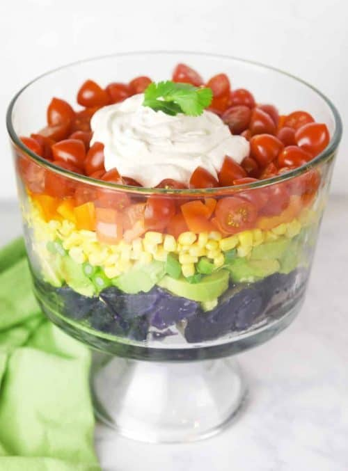 Rainbow-Potato-Salad- for trolls birthday party healthy food ideas