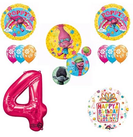 TROLLS Movie 4th Happy Birthday Party Balloons Decorations Poppy Trolls Bundle