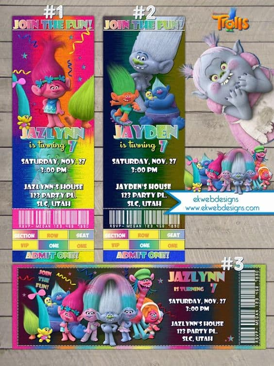 Trolls Movie Ticket Birthday Invitations