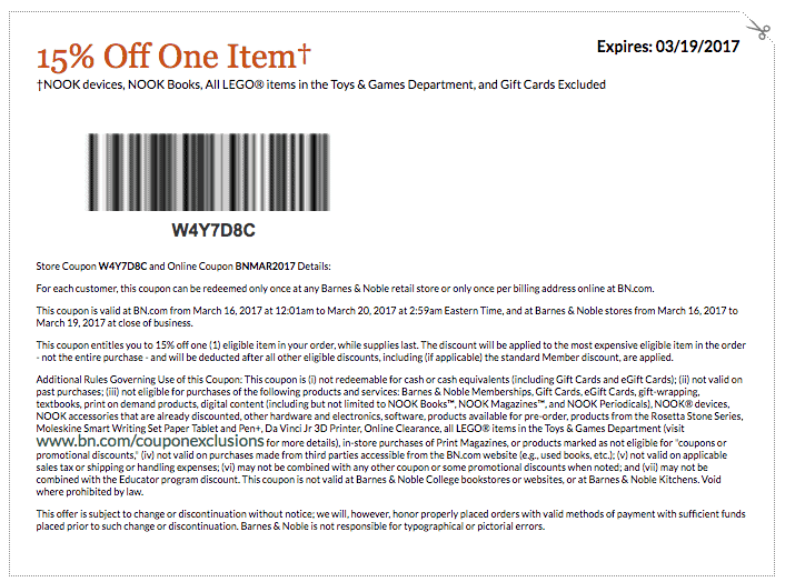 barnes and noble printable coupon code March 2017