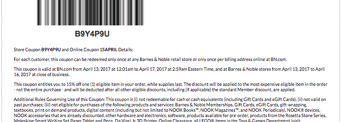 barnes and noble printable coupon code april 2017 15APRIL