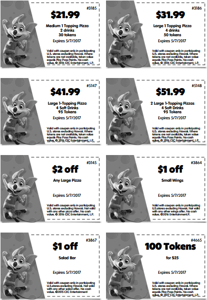 best printable coupons for chuck e cheese - april 2017 may 2017 tokens food