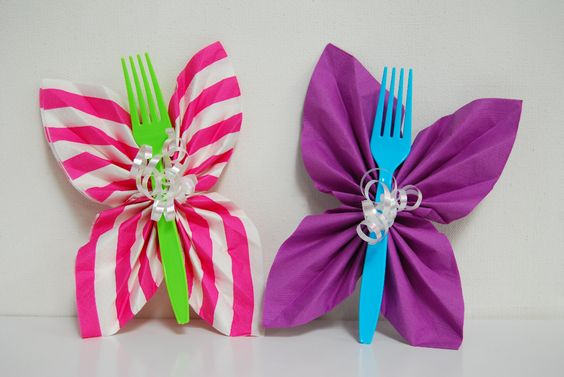 Butterfly Folded Napkins For Trolls Theme Birthday Party