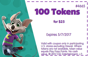 chuck e cheese printable coupon for tokens april 2017 may 2017