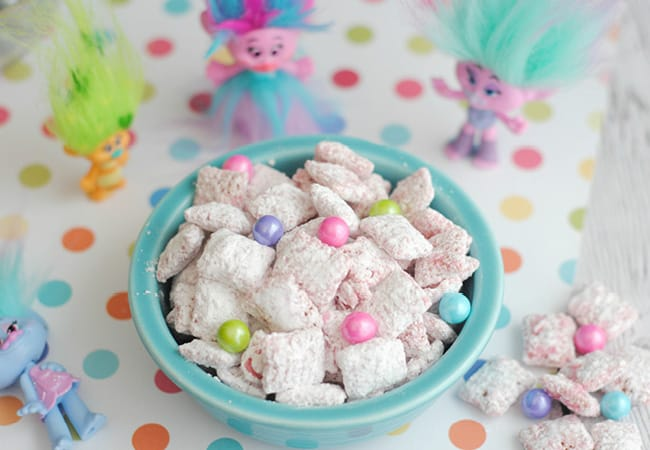 puppy chow recipe trolls movie theme birthday party food