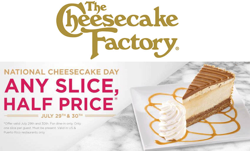 Cheesecake factory printable coupon 2018