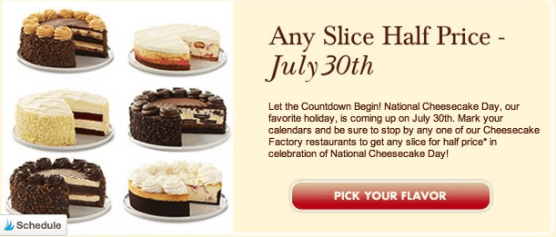the cheese cake factory coupon - national cheesecake day half price slice coupon