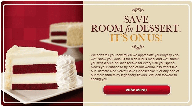 The Cheesecake Factory offers promo codes often. On average, The Cheesecake Factory offers 16 codes or coupons per month. Check this page often, or follow The Cheesecake Factory (hit the follow button up top) to keep updated on their latest discount codes. Check for The Cheesecake Factory's promo code exclusions/5(18).