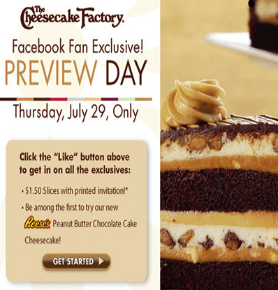 Place an order with The Cheesecake Factory for up to 20% Savings; Get up to 10% Savings on Everything; 15% Savings on All What in Your Basket; Deduct 10% from all orders via using the code; How to use a The Cheesecake Factory Coupon Code? Find a coupon code from The Cheesecake Factory page of HotDeals and click