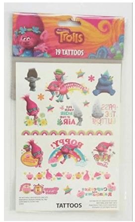 trolls temporary tattoos party favors