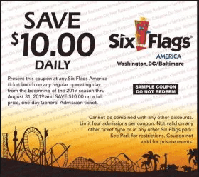 picture relating to Six Flags Printable Coupons identified as Excellent 6 Flags Discount codes 2019 - Personal savings, On the net Coupon Codes