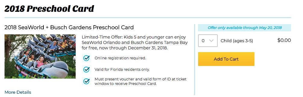 Free Sea World Ticket Preschool Card 2018