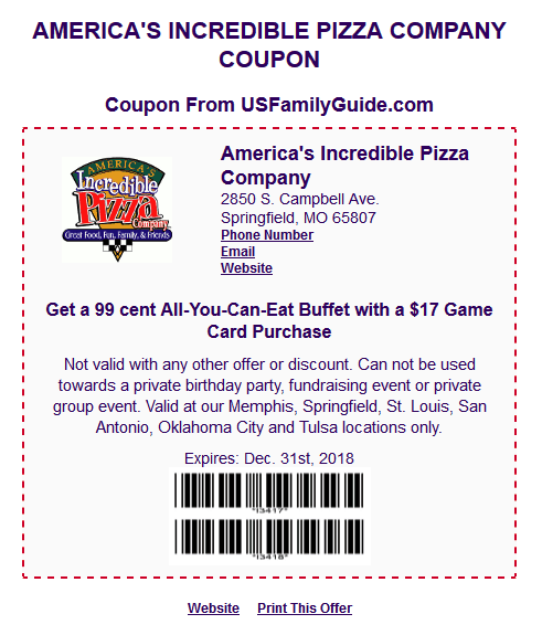 incredible pizza coupons 2018