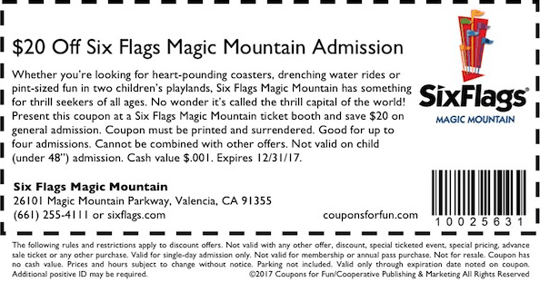 Coke | Six Flags Magic Mountain CODES Get Deal Save at Six Flags Magic Mountain when you bring a can of Coca-Cola. Just present your can at the ticket booths to save $ Excludes October 15, 22 and Each Coca-Cola can is valid for a discount on one general admission only. Cannot be combined with other offers. Discounts valid through October 31, ; however the Coca-Cola can discount.