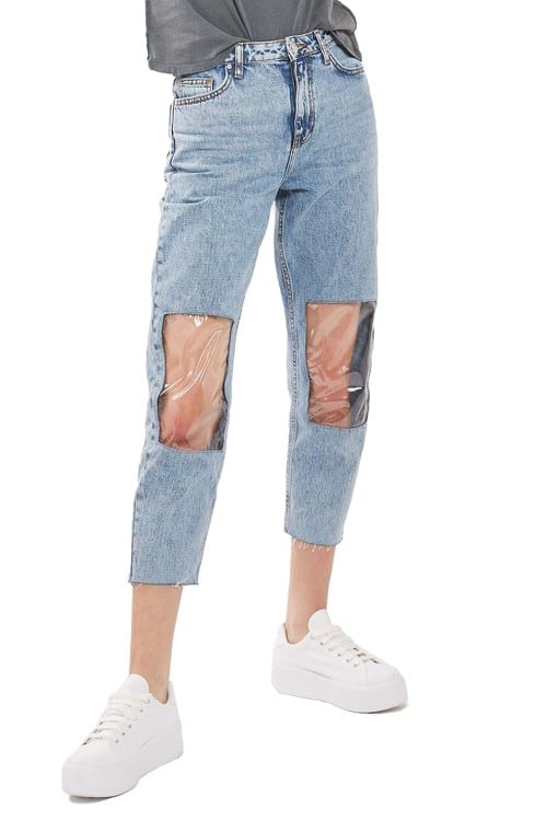 clear knee mom jeans plastic openings at knee trend
