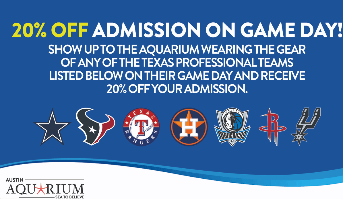 Austin Aquarium 20% off coupon deal for sports fans
