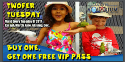 austin aquarium 2017 Buy one get one free coupon