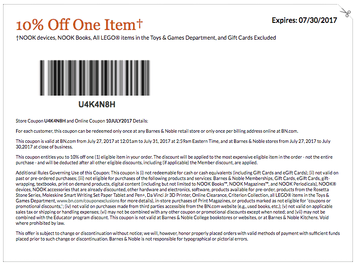 barnes and noble printable coupon code july 2017 10 percent off