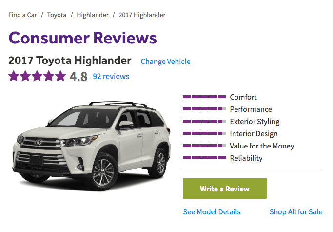 Research And Reviews For 2017 Toyota Highlander Consumer