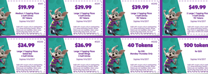 August 2017 September 2017 Chuck E Cheese printable coupons for Tokens and Food