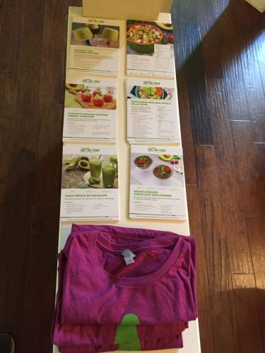 Hass Avocado Board In-Home Party set up recipes tee shirts