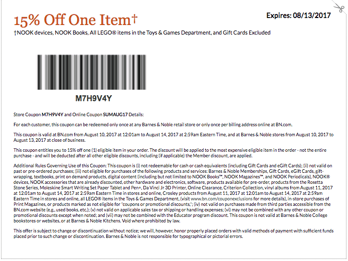 august 2017 barnes and noble printable coupon