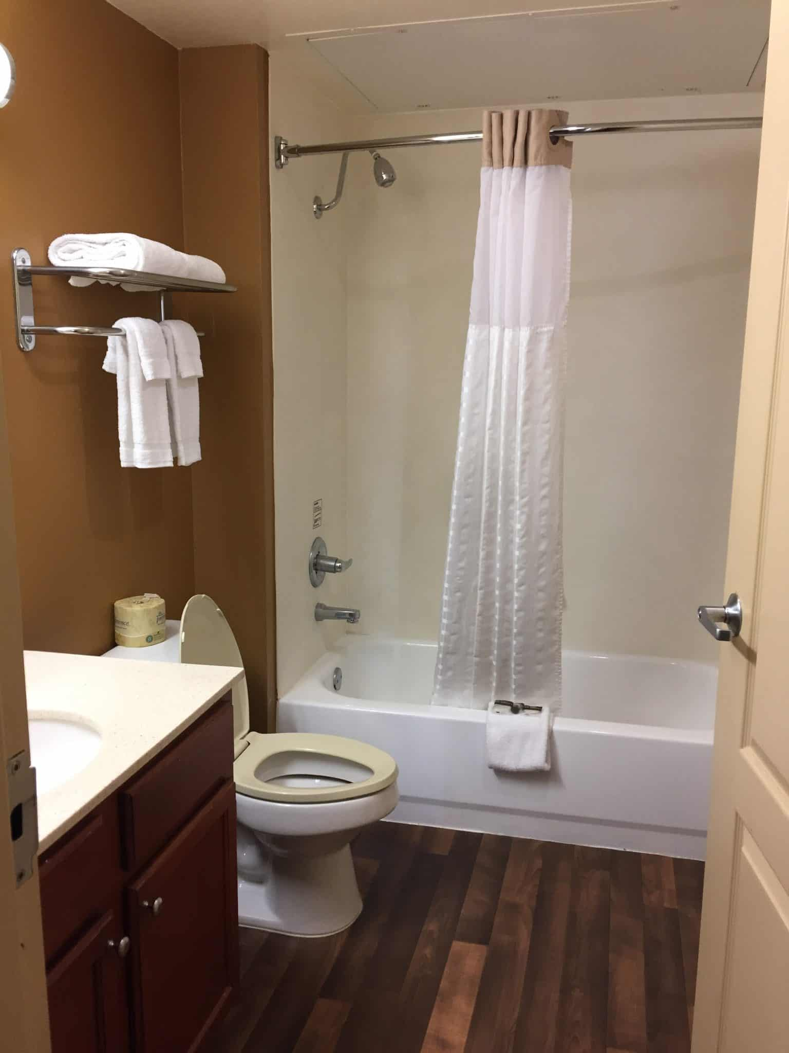 Extended Stay America for Family Friendly and Pet Friendly Travel bathroom