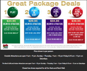 austins park and pizza prices and discounts
