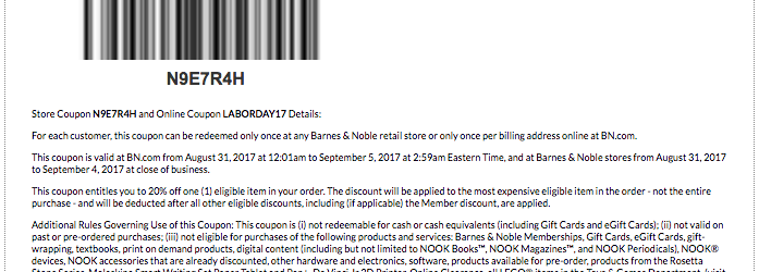 barnes and noble printable coupon september 2017 labor day