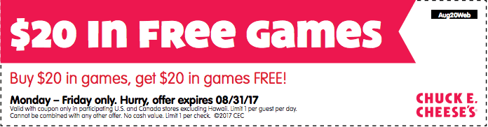 chuck e cheese free games coupon buy one get one free printable coupon