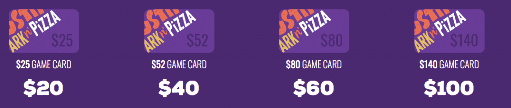 current prices for Austin's Park and Pizza as of 2019 - game cards-min