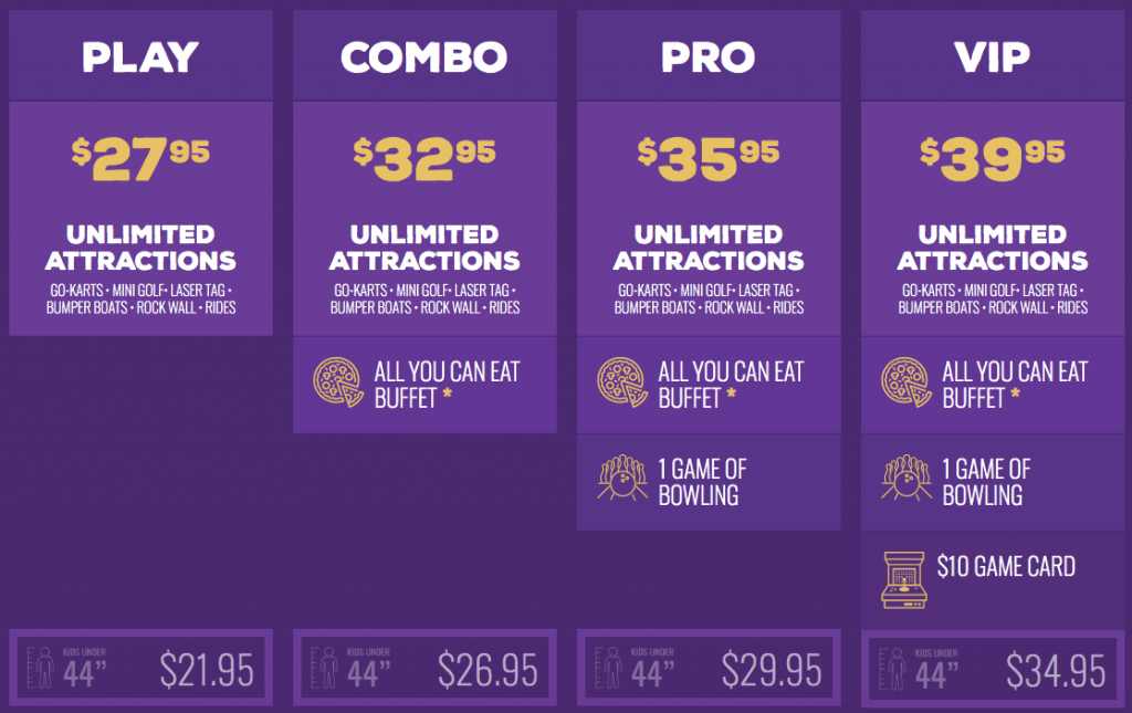 current prices for Austin's Park and Pizza as of 2019-min