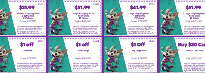 Oct 01,  · Printable & Mobile: Print coupons or show on mobile device to get 1 medium pizza and 2 drinks for only $, play points for $20 and more. (December) Chuck E Cheese's Special Offers Official Chuck E Cheese deals page. Get coupons, see their newest promotions, and rewards plus join their e-club for future savings/5(51).