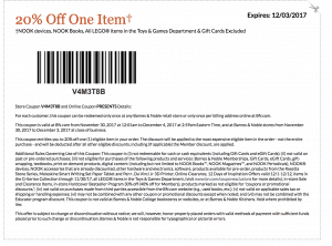 December 2017 Barnes and Noble Printable Coupon Code 20 percent off