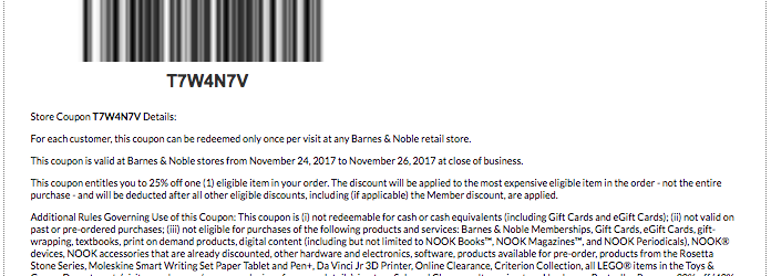 Barnes and Noble Black Friday Printable Coupon 2017