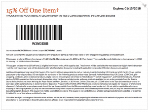 january 2018 barnes and noble printable coupon code 15 percent off