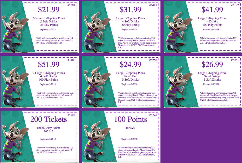 Local Coupons. Fun awaits at the Chuck E. Cheese's restaurant in your neighborhood. Print or save pizza coupons and game coupons to your phone and redeem them at a restaurant near you when you're ready to have a blast.