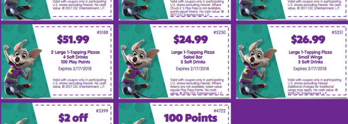 Chuck e cheese token coupons january 2018