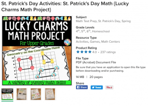 Lucky Charms Math Project for Older Kids