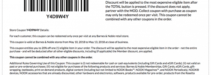 barnes and noble 20 percent off printable coupon code may 2018 friends and family