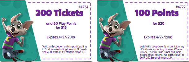 chuck e cheese coupon 100 points for 20 april 2018