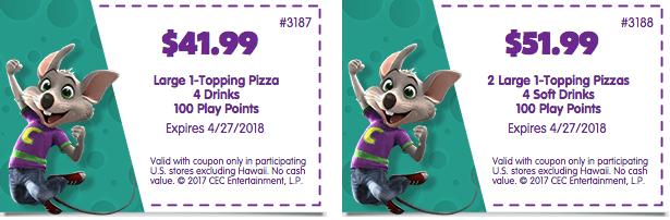 chuck e cheeses printable coupon food drinks tokens april 2018